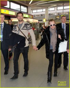 Diane Kruger and Joshua Jackson make their way through Tegel Airport in Berlin, Germany