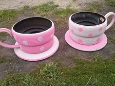 Tea Cups made out of recycled tyres