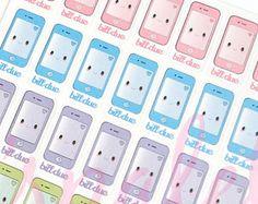 35 Kawaii Cell Phone Stickers Erin Condren Life Planner Filofax Gillio Kikki K