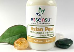 Asian Pear Hydrating Perfume Natural Non-Toxic Body Spray with Shea Butter, by essensu. Vegan. Gluten, paraban, and phthalate free. Non-toxic fragrance choice. #greenbeauty  #ecobeauty