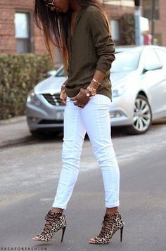 olive shirt, white jeans....minus the crazy high heels! I would wear leopard flats or leopard sandals.