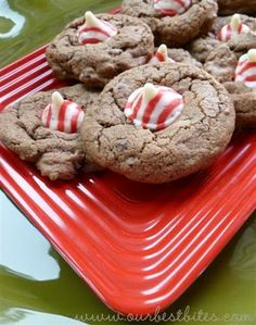 Candy Cane Kiss Cookies - I love these cookies for Christmas parties - they are so cute & they are delicious