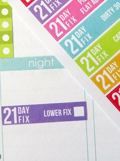 One 6 x 8 sheet of 21 Day Fix exercise program planner stickers cut and ready for use in your Erin Condren life planner, Filofax, Plum Paper, etc!