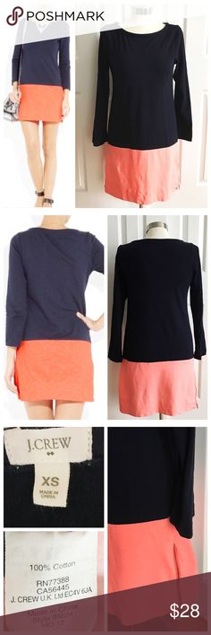 J Crew Navy Coral Dress J. Crew 3/4 sleeve short dress. Navy blue and coral / orange. Exposed gold side zippers. Size extra small. 100% cotton. J. Crew Dresses