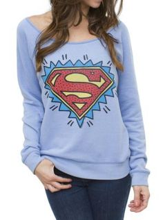 Superman Off the Shoulder Flashdance Fleece - Women's Tops - All - Junk Food Clothing Comic Clothes, Marvel Clothes, Super Hero Outfits, Cool Outfits, Superman Outfit, Superman Stuff, Nerd Fashion, Junk Food Clothing, Sweater Weather