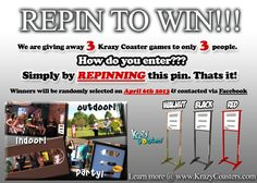 Win a Krazy Coasters game simply by Repinning this Pin. FREE SHIPPING INSIDE THE U.S.! Winners are chosen randomly on April 6th 2013 and have their choice of color game stand. Brought to you by www.whoodie.com & www.krazycoasters.com  LEARN MORE BY CLICKING THE IMAGE.  #contest #repin #win #game