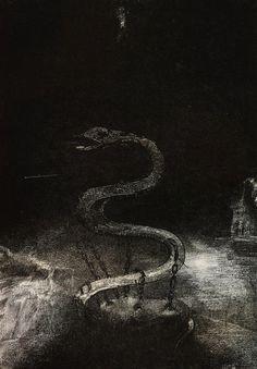 magictransistor: Odilon Redon. Apocalypse de Saint-Jean. Bound for One Thousand Years. 1899.