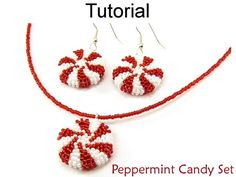Beaded Christmas Jewelry Making Patterns and Tutorials - Holiday Peppermints - Simple Bead Patterns - Peppermint Candy Set Peppermint Candy Necklace / Earrings Set Beading Tutorial These very popular beaded peppermi Beaded Necklace Patterns, Seed Bead Patterns, Jewelry Patterns, Beading Patterns, Beaded Jewelry, Loom Beading, Seed Bead Bracelets Diy, Beaded Bracelets Tutorial, Seed Bead Necklace