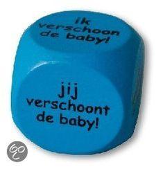 Dobbelsteen - Geboorte - Ik verschoon de baby - jij verschoont de baby (blauw)