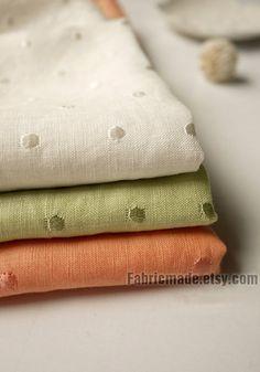 "Cotton Linen Fabric Cloth - White Orange Green Jacquard Polka Dots Linen Fabric -1/2 yard 18""X55"""