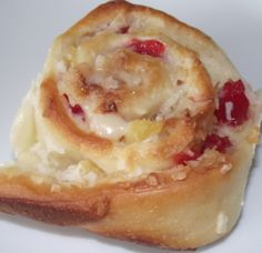 coconut buns…like a Chinese honey bun. Creamy coconut filling with pineapple and cherries  www.mealsinahurry.orh