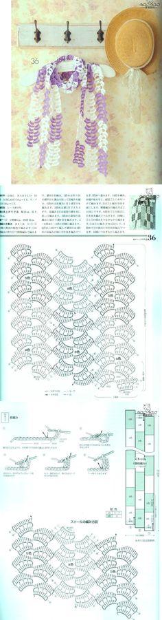 """К лету: """"веселенький"""" шарфик узором """"дольки"""" крючком . Комментарии : LiveInternet - Российский Сервис Онлайн-Дневников stitch crochet pattern chal scarf"""