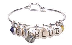 Go Blue Sports Charm Bracelet - University of Michigan fans will love this football charm bracelet! Make your own at antelopebeads.com