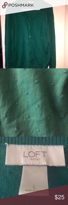 Long sleeve sweater This long sleeved, dark forrest green sweater is gently worn. There is a subtle polka dot print on the sweater that is the same color. This sweater is made out of 100% cotton. LOFT Outlet Sweaters Cardigans
