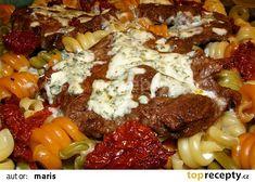 Vepřové plátky s těstovinami recept - TopRecepty.cz Korn, Sausage, French Toast, Beef, Chicken, Breakfast, Bulgur, Meat, Sausages