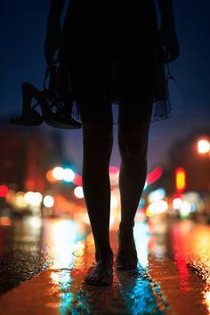 Barefoot woman walking on street at night,/Haruki Murakami After Dark Photo by Piotr Powietrzynski Night Photography, Street Photography, Art Photography, Lonely Girl Photography, Fashion Photography, Haruki Murakami, Bokeh, Silhouette Photography, Jolie Photo