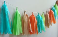 Bright Orange, Lime, Aqua and Kraft Tissue Tassel Garland - One Stylish Party
