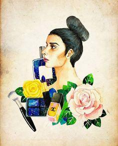 """좋아요 57개, 댓글 2개 - Instagram의 ailin(@ailin_a1)님: """"What do you think about makeup? It's way to express oneself or hide onself?  #illustration #drawing…"""""""