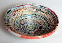 mumsboven: Van oude tijdschriften Recycled Crafts, Diy And Crafts, Arts And Crafts, Paper Crafts, Recycle Newspaper, Newspaper Basket, Magazine Bowl, Rolled Paper Art, Paper Magic