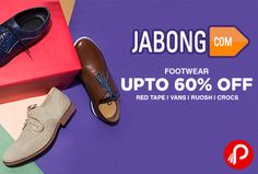 Jabong is offering Upto 60% off on Footwear including Red Tape, Vans, Ruosh, Crocs. Casual Shoes, Formal Shoes, Sneakers, Sandals & Slippers, Boots, Sports Shoes, Flip Flops, Floaters, Shoe Accessories.  http://www.paisebachaoindia.com/footwear-upto-60-off-jabong-2/