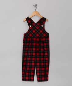 Take a look at this Red & Black Plaid Corduroy Classic Overalls - Infant & Toddler by Cotton Blu & Cotton Pink on #zulily today!