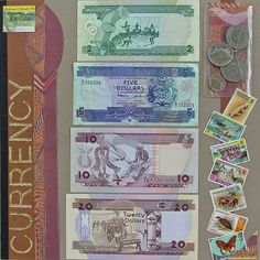 """Solomon Islands Currency by KittyKatz @2peasinabucket -- I scrapped the colorful currency and cool coins from my trip to the Solomon Islands. I forgot to mail myself some letters, so I bought the cancelled stamps from the """"you-know"""" site!"""