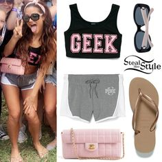 Gabriella DeMartino posted a picture on snapchat today wearing a Forever 21 Geek Girl Crop Top (Sold Out), Victoria Secret Pink Varsity Shorts ($29.95), a Lambskin East West Chocolate Bar Flap ($1,095.00 – preowned) and 5322 Sunglasses ($232.63) both by Chanel, and Havaianas Slim Flip Flops ($25.95).