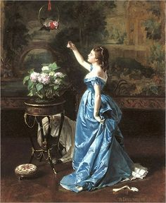 """Auguste Toulmouche (September 21, 1829 - October 16, 1890) was a French painter.  He studied with Charles Gleyre and is known mainly for his portraits of Parisian women; Émile Zola spoke of """"Toulmouche's delicious dolls.""""  He was named a Chevalier of the Legion of Honour."""