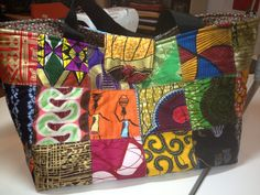 Large quilted african tote bags. Beautiful bags, with pockets, made with authentic African fabrics.  NO two alike. Made to order. Fabric a will