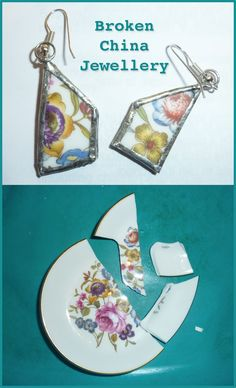 Jovial Spondoodles: Smashed plate Earrings! Jewellery from broken china tutorial.