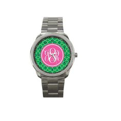 Monogrammed Stainless Watch- Mix and Match Patterns and Colors on Etsy, $24.75