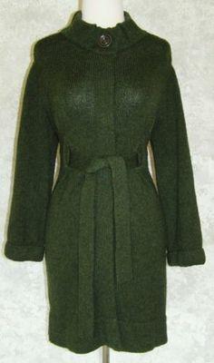 VINCE Dark Green Cardigan Jacket Sweatercoat Belted S Wool Blend Winter Long