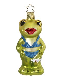 'Hot Lips' Frog in bikini from Inge-Glas of Germany, at Copper Strawberry: https://www.copperstrawberry.com/european-furniture/inge-glas-christmas-ornaments-holiday/new/catalog/inge-glas-hot-lips-frog-ornament Our Christmas and holiday ornaments at Copper Strawberry: https://www.copperstrawberry.com/european-furniture/inge-glas-christmas-ornaments-holiday #frog #bikini #frogornament #copperstrawberry #ingeglas