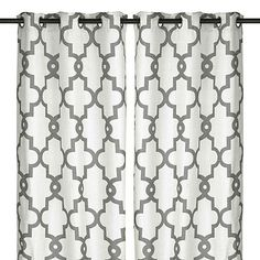 Our White Maxwell Curtain Panel set pairs a neutral shade with a trendy quatrefoil pattern, making it a soft bedroom or living room addition. Curtains For Sale, Discount Curtains, White Curtains, Drapes Curtains, Grommet Curtains, Curtain Fabric, Curtain Rods, Grey Windows, Quatrefoil Pattern