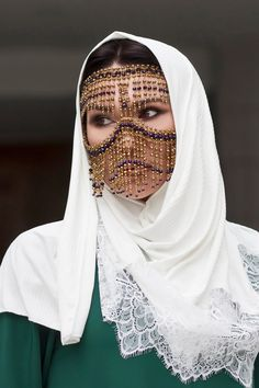 Tribal Face Chain Golden Regina Burqa Face Mask | Etsy Wedding Day Makeup, Bridal Makeup Looks, Indian Bridal Makeup, Mouth Mask Design, Egyptian Beauty, Tribal Face, Indian Face, Bridal Mask, Face Jewellery