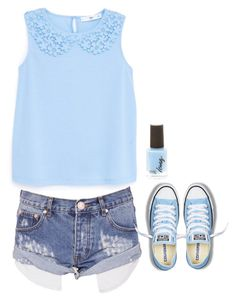 """""""Light blue"""" by aysiaismej ❤ liked on Polyvore featuring One Teaspoon, MANGO and Converse"""