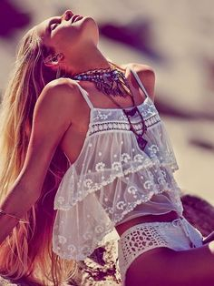 Free People. Soaking up the sun. #crop #crocheted