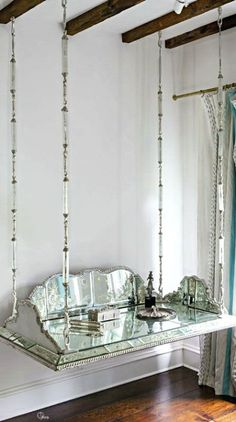 my heart hit the floor when I saw this hanging mirrored vanity. The ultimate…