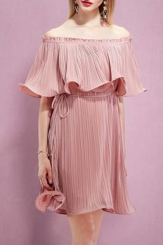 Dezzal - Dezzal Flounce Pleated Dress - AdoreWe.com