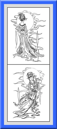 """Printable Geisha Coloring Pages 30 High definition coloring pages, black outlines with colored examples. This geisha coloring page is from """"Geisha Coloring Book"""" available for $2.89 at Etsy.  Printable coloring pages for adults and big kids."""