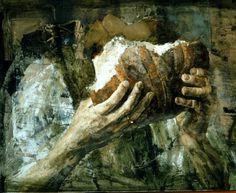 11 Main avec un pain 50x70 tempera1999
