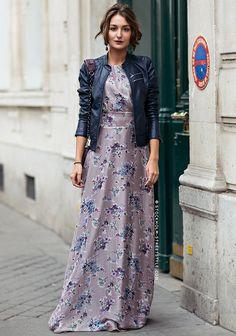 Rien de tel qu'un perfecto pour twister une robe longue !
