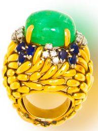 An emerald, sapphire, diamond and fourteen karat gold ring - great cocktail ring  Bonham's