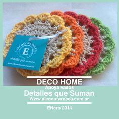 Apoya vasos, hechos a mano con hilo de algodon.                                                  Www.eleonorarocca.com.ar