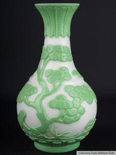 China 20. Jh. Glasvase -A Chinese Glass Bottle Vase Vaso Di Vetro Cinese Chinois