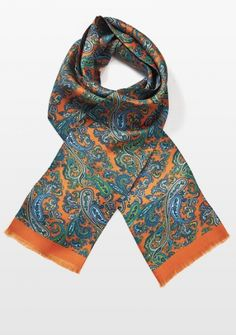 Tuchschal Paisley-Muster orange groß