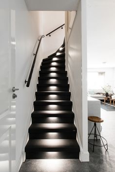Ideas all black stairs floors for Ideas all black stairs floors for 2019 stairsWhen Painted Stairs + Dogs Don't MixWhen Painted Stairs + Dogs Don't Mix Flooring For Stairs, Basement Stairs, House Stairs, Black Staircase, Staircase Design, Staircase Lighting Ideas, Building Stairs, Stair Lighting, Painted Stairs