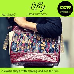"Lilly is a classic #TooCuteTotes #shopper with a twist, measuring 12"" x 10"" x 5.5"". The exterior includes front and back pleating detail with an accent of your interior fabric providing a bit of flair on the end ties, as well as a zipper closure, and dual grommeted o-ring straps. Lilly's interior contains single side open pockets (2 + pen pocket) and a zippered pocket on the opposite side.  Lilly can also be modified to include a concealed carry pocket. Starts at $109."