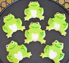 Green Frog Hand Decorated Sugar Cookies