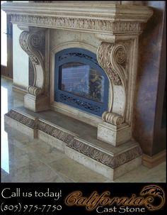 cal cast stone fireplace surround san jose - Stone Fireplace Surround